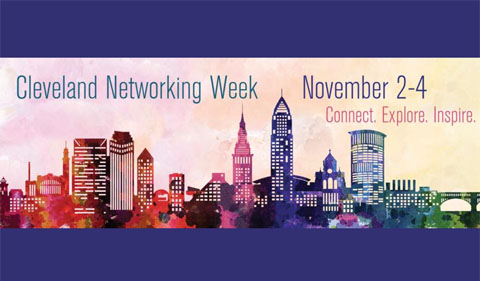 Skyline image for Cleveland Networking Week, Nov. 2-4. Connect. Explore. Inspire.