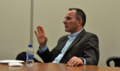 "Costel Constantin spoke with current graduate students at as part of NQPI's ""Bring OUr Alumni Back"" series."