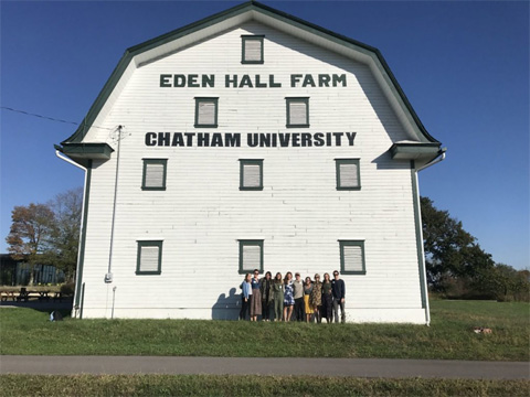 Chatham University's Eden Hall Farm, a white barn