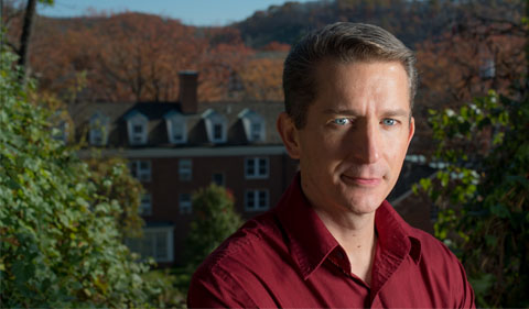 Dr. Daniel Hembree, shown in an outdoor shot overlooking campus.