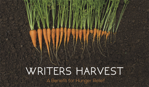 Writers harvest poster, with sheaf of carrots. Writers harvest is a benefit for hunger relief.