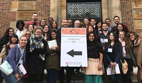 Graduate students at Ohio Latin Americanist Conference, posed for group photo in Columbus