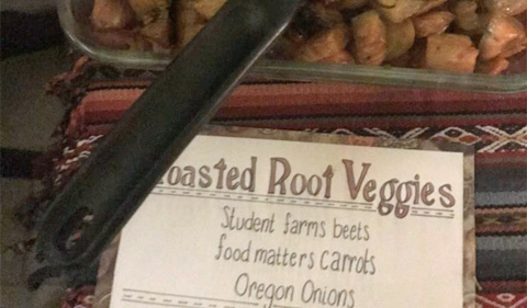 Roasted root vegetables included beets, carrots and onions.