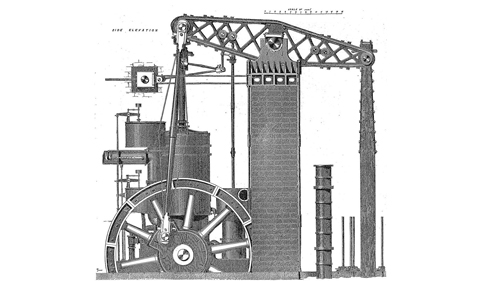 Diagram of the largest stationary steam engine ever built in America from an 1876 article in Scientific American