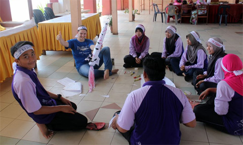 Katie Schmittauer with her students in Malaysia.
