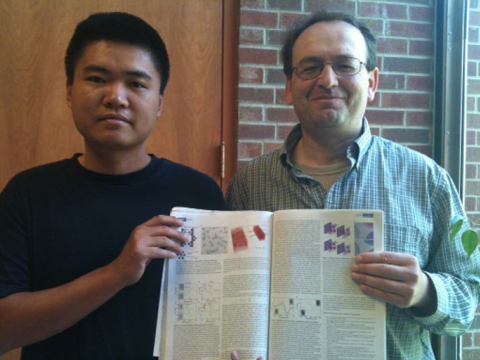 Ph.D. student Zhiyuan Fan and Dr. Alexander Govorov with their Nature article.