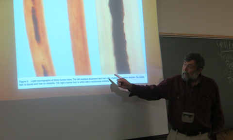 Dr. Scott Moody shows light micrographs of three human hairs.