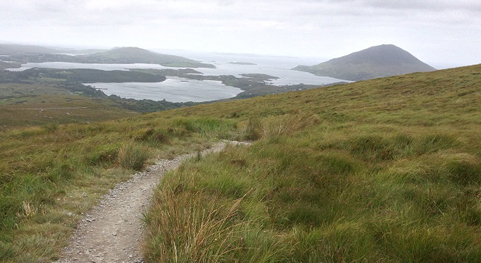 Coastal boglands in Connemara National Park. Peat from bogs is still used for fuel in Ireland.
