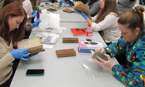 Professional Historians Train Students in Historical Document Handling