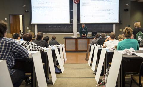 "Dr. David Ingram creates a ""flipped classroom"" in Walter Hall."