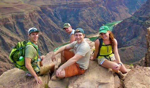 Sigma Gamma Epsilon students near the bottom of Bright Angel Trail, Grand Canyon, UT