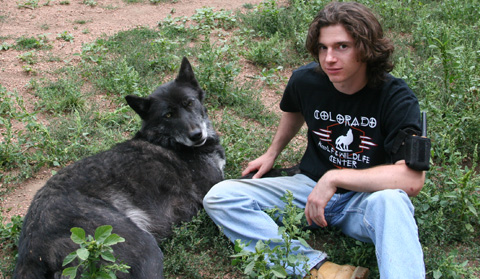 Buffington with Na'vi, a timber wolf (gray wolf).