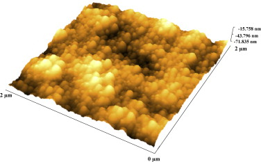AFM image of 600 nm ZnO thin film deposited on Si(1 1 1) substrate.