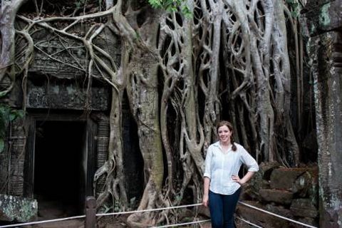 Like many other temples in the park, Ta Prohm has slowly been taken over by Banyan trees (Sam for scale). This temple is possibly best known for being the site where Tomb Raider was filmed!
