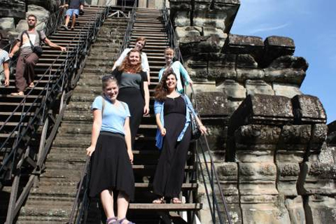 The stairs to the third level of Angkor Wat are almost impossibly steep!