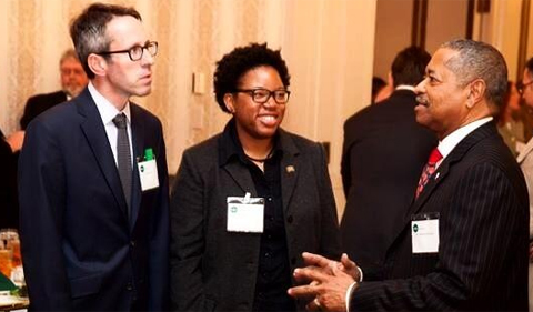 From left: Vice President for Research Joseph Shields, OHIO alum Tynita White, and President Roderick McDavis.