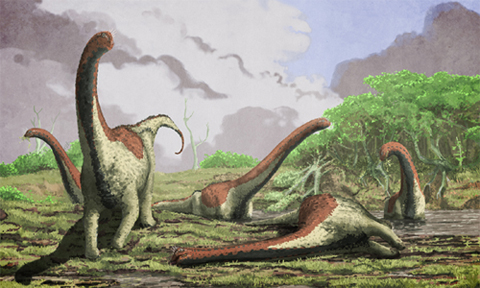 An artistic rendering of a deceased Rukwatitan bisepultus individual in the initial floodplain depositional setting from which the holotypic skeleton was recovered. Image credit: Mark Witton, University of Portsmouth.