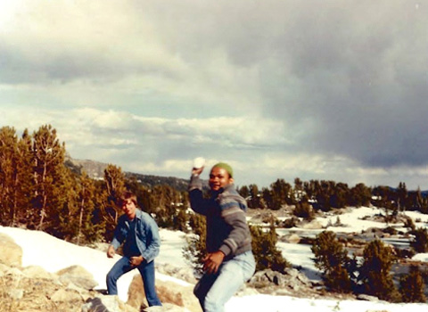 OHIO students at Beartooth Pass 1984 obviously following the tradition of a snowball fight.