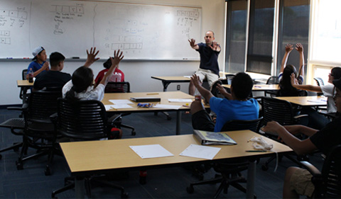 Bob Klein leads a session during the Navajo Nation Math Circle Project's summer math camp.