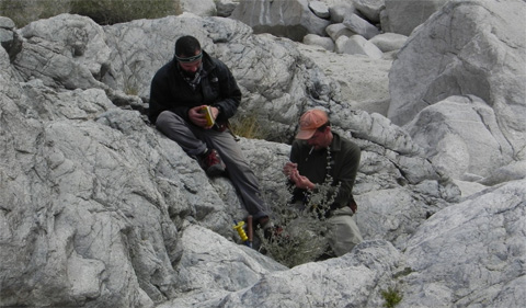 Dr. Craig Grimes and graduate student Cody MacDonald record GPS position, structural data, and geologic context of a sample before collecting it in the Chemehuevi Wilderness Area, CA.