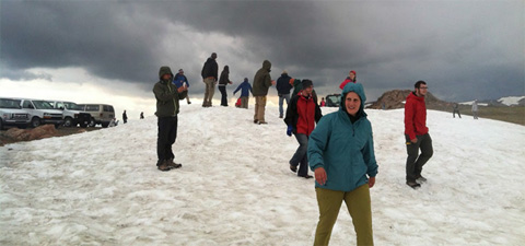 Snowball fight in July at the top of Beartooth Pass.