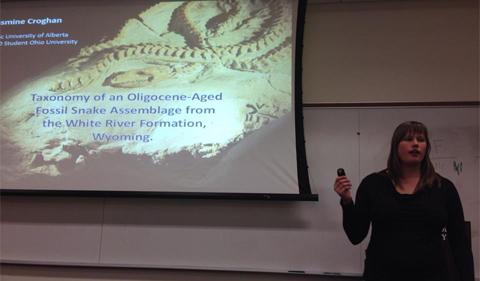 Jasmine Croghan talks about fossil snakes.