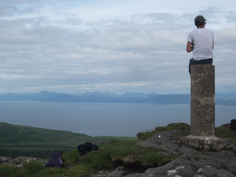 Tony Vo gets a view from the Isle of Eigg. Photo by Sara Sands.