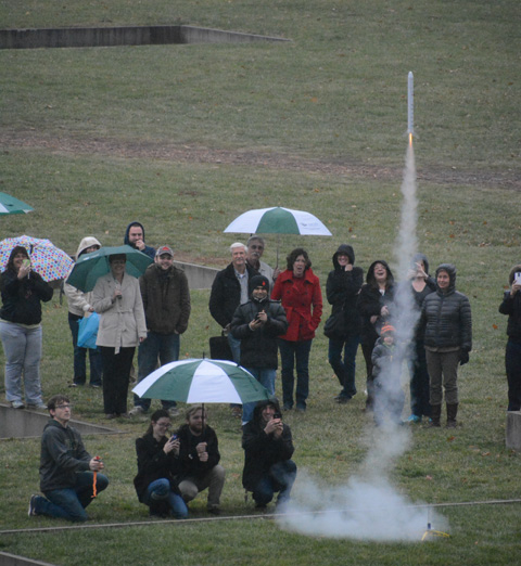 Model rocket launch by Team Gravitron students. Photo by Dennis Powell, Athens News.