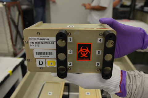 The experiment flew to the International Space Station in a biological research in canister (BRIC).