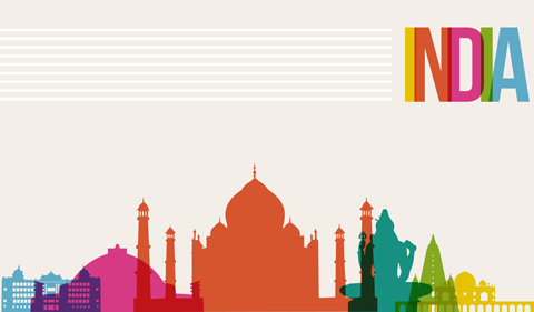 India famous landmarks skyline multicolored design background.