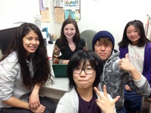 Sharing exchange experiences (from left): Amanda Oyakawa, Tetyana Dovbnya, Miyu Hoshino, Yugo Naito, and Minami Kataoka