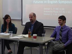 English alumni (L-R: Christine Madjar, Jarod Anderson, Zach Marion) discuss their career paths. Photographer: Linda Rice