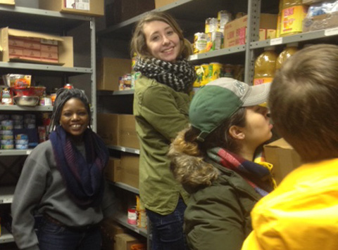 Students working in the food pantry.