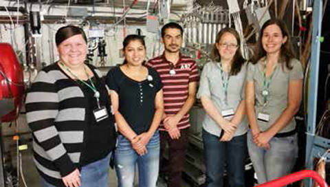 From left, graduate students Andrea Richard, Shamim Akhtar, Sushil Dhakal, Dr. Heather Crawford, and graduate student Cody Parker visit Michigan State and pose in front of the CAESAR (CAESium iodide ARray) gamma-ray detector array, which consists of 192 individual CsI crystal detectors, at the target position of the S800.