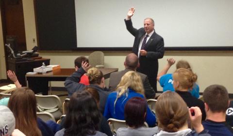 Mike Swiger talks to Dr. Nicole Kaufman's sociology class.