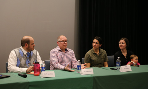From right, delfin bautista, Director of the Ohio University LGBT Center, and case plaintiffs James Obergefell, Kelly Noe and Kelly McCracken, and Ruby.
