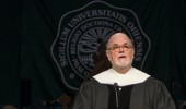 Ohio University Professor Samuel Crowl, Ph.D. delivers the commencement address during the afternoon Undergraduate Commencement ceremony on Saturday, May 2, 2015.  Photo by Ohio University  /  Rob Hardin