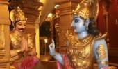 Lord Krishna preaching Bhagavadgita to Arjuna at battlefield, Kudroli Gokarnanatheswara Temple, Mangalore, Karnataka, India, Asia