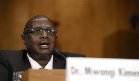 Mwangi Samson Kimenyi on a panel at the Brookings Institution.