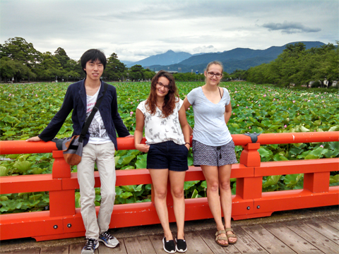 From left, Reiju Nemoto, Claire Seid and Abby Stephens in Japan.