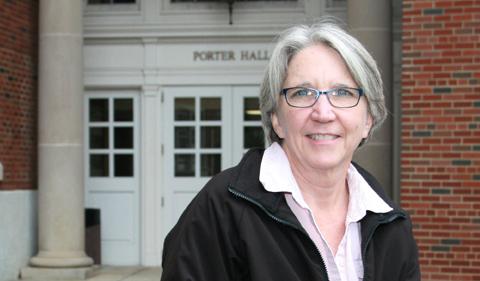 Dr. Sarah Wyatt, portrait outside Porter Hall