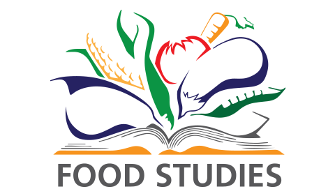 Food studies graphic, with outlines of eggplant, tomato, corn, etc.