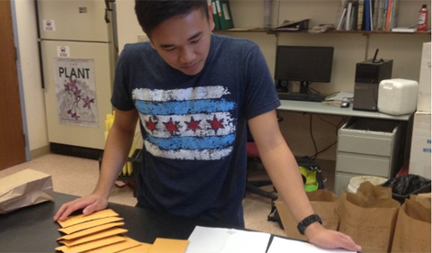 Jordan Francisco '19 is studying the peanut seeds he will be using for his research.
