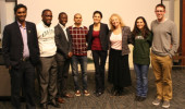 Graduate student participants in the inaugural Ohio University 3 Minute Thesis (3MT®) competition (from left): Nikhil Dhinagar, Patrick Mose, Kingsley Antwi-Boasiako, Reetobrata Basu, Golshan Madraki, Anne Allman, Fatemah Khalili and Sean McGraw. Photo credit: Peter Hayes