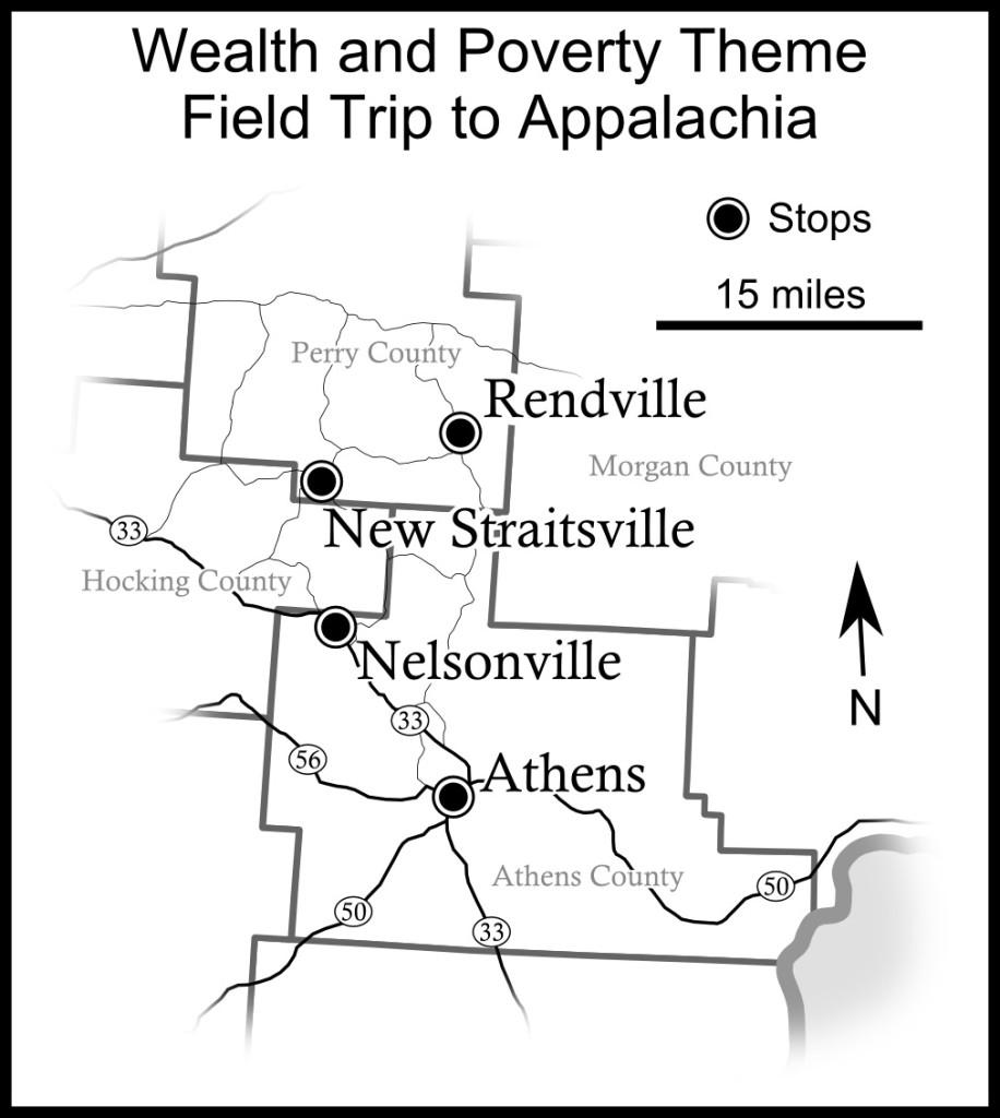 Appalachia field trip map