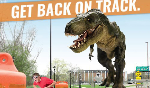 Summer Get Back on Track graphic with dinosaur chasing bicyclist
