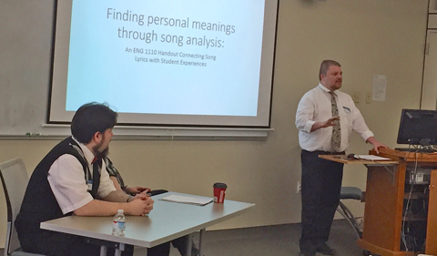 """Jon Stansell, Associate Professor of English at Belmont College, describes a project that he uses in his English course in his presentation, """"Finding Personal Meanings through Song Analysis: An ENG 1110 Handout Connecting Song Lyrics with Personal Experience."""
