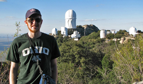 Undergraduate astrophysics major Jacob Williamson at MDM Observatory