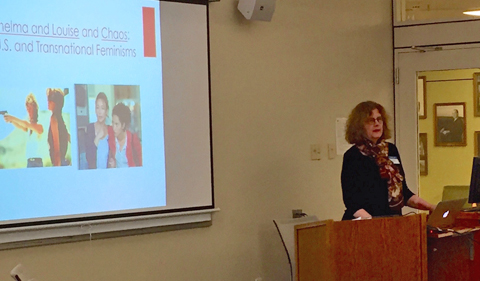 """Dr. Mara Holt, Associate Professor of English and Director of Composition, delivers her keynote address, """"Teaching U.S. and Transnational Feminisms with Thelma and Louise (1991) and Chaos (2001)."""