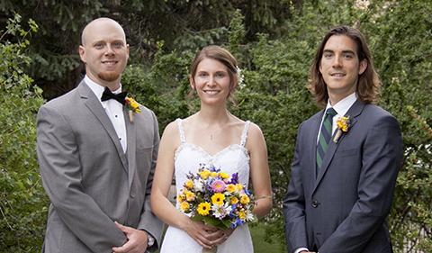 Groom, bride, and best man: John Boman ('07), Stephanie Ksionzyk ('07), John Jenkins ('07) in August 2015